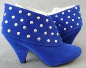 Modré kotníčkové kozačky - skladem, 38