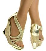 Zlaté společenské sandálky - skladem, 38