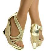 Zlaté plesové společenské sandálky, skladem, 38