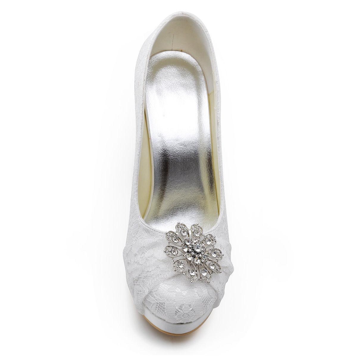 Krajkové bílé svatební lodičky, 22,5-26cm - Obrázek č. 2