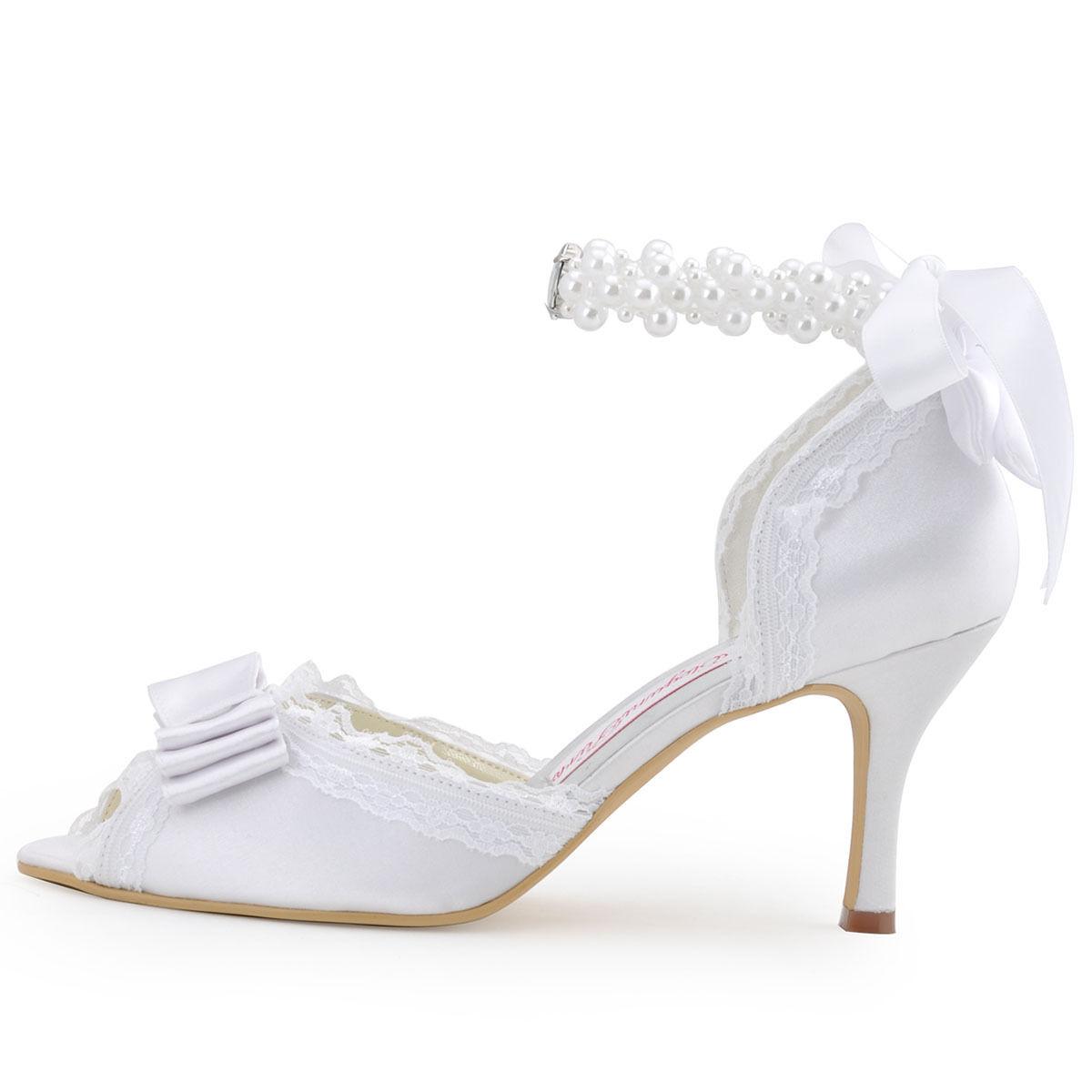 Krajkové bílé, ivory svatební lodičky, 22,5-26 - Obrázek č. 2