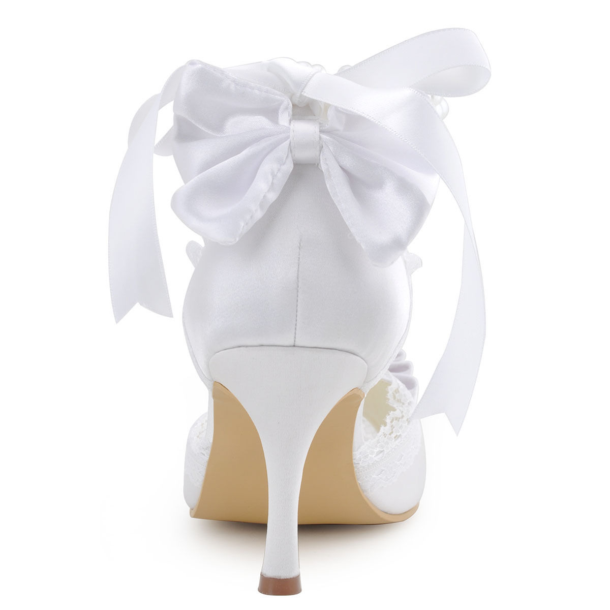 Krajkové bílé, ivory svatební lodičky, 22,5-26 - Obrázek č. 3