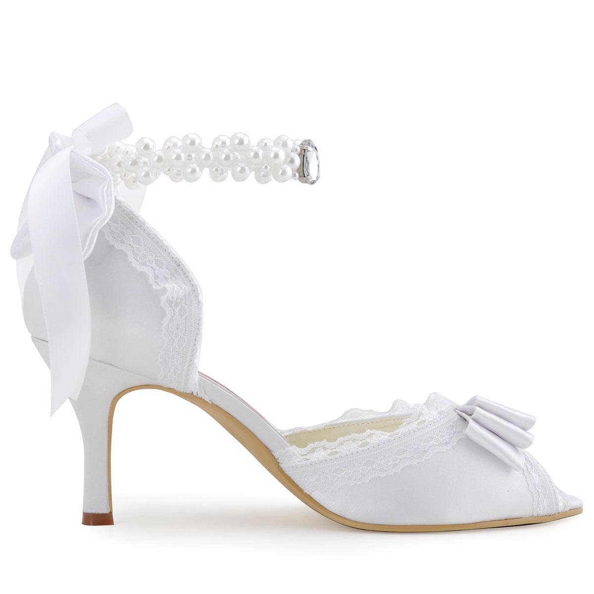 Krajkové bílé, ivory svatební lodičky, 22,5-26 - Obrázek č. 4