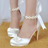 Saténové bílé, ivory svatební lodičky, 22,5-26cm, 35