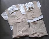 Letní béžový oblek k půjčení - 1-2 a 2-3 roky, 80