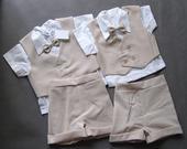 Letní béžový oblek k půjčení - 1-2 a 2-3 roky, 92