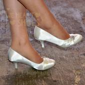 Ivory saténové svatební lodičky, nízký podpatek, 36