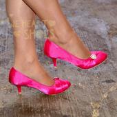Růžové saténové lodičky, nízký podpatek, 40