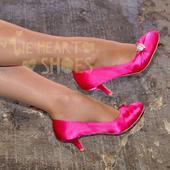 Růžové saténové lodičky, nízký podpatek, 38