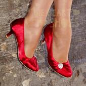 Červené saténové svatební lodičky, nízký podpatek, 40