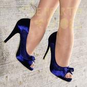 Modré saténové svatební lodičky, vysoký podpatek, 37