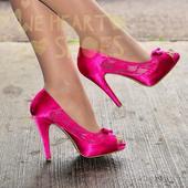 Růžové saténové svatební lodičky, vysoký podpatek, 39