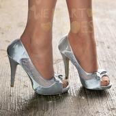 Stříbrné saténové svatební lodičky, vysoký podpate, 36