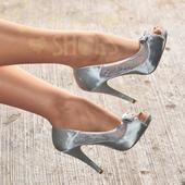 Stříbrné saténové svatební lodičky, vysoký podpate, 38