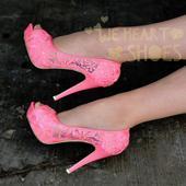 Růžové krajkové svatební lodičky, vysoký podpatek, 38