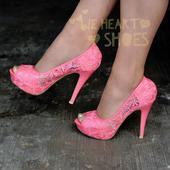 Růžové krajkové svatební lodičky, vysoký podpatek, 41