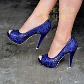 Modré krajkové lodičky, vysoký podpatek, 36