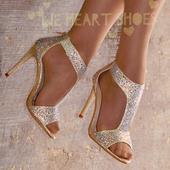 Zlaté plesové společenské sandálky, 38