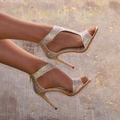 Champagne svatební, společenské sandálky, 37