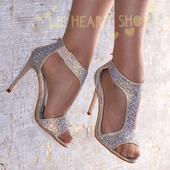 Champagne svatební, společenské sandálky, 38
