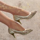Zlaté plesové společenské sandálky, 36