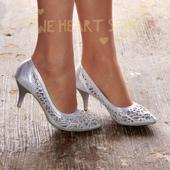 Stříbrné společenské, plesové sandálky, 38