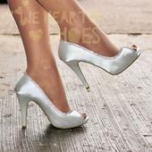 Stříbrné saténové svatební lodičky, vysoký podpate, 41