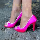 Růžové saténové svatební lodičky, vysoký podpatek, 38
