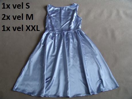 Modré saténové šaty, různé velikosti - Obrázek č. 1