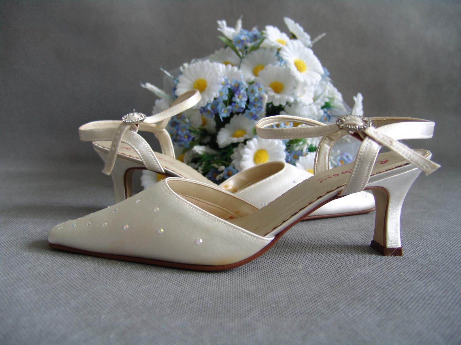 SKLADEM - ivory saténové svatební lodičky - Obrázek č. 1