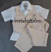 SKLADEM - béžový oblek k zapůjčení - 2-3 roky, 98