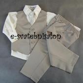 SKLADEM - béžový oblek k zapůjčení,3-6,12,18,2,3, 80