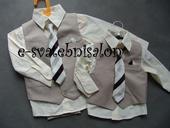 SKLADEM - béžový oblek k zapůjčení,6-12,3-4, 80