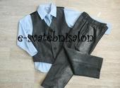 SKLADEM - šedý oblek k zapůjčení, 6 m - 8 let, 80