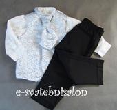 SKLADEM - modro-stříbrný oblek, 12-18, 2 roky, 86
