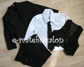 SKLADEM - černý oblek k zapůjčení, 134