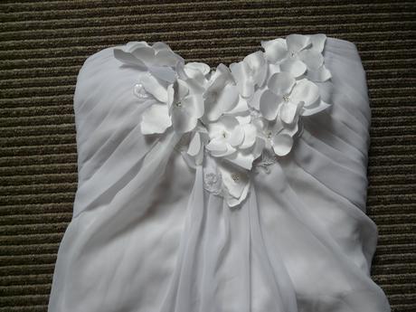 SKLADEM - svatební bílé šifonové šaty, XS-M - Obrázek č. 4