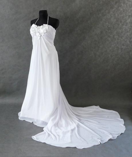 SKLADEM - svatební bílé šifonové šaty, XS-M - Obrázek č. 3