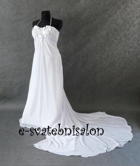 SKLADEM - svatební bílé šifonové šaty, XS-M - Obrázek č. 1
