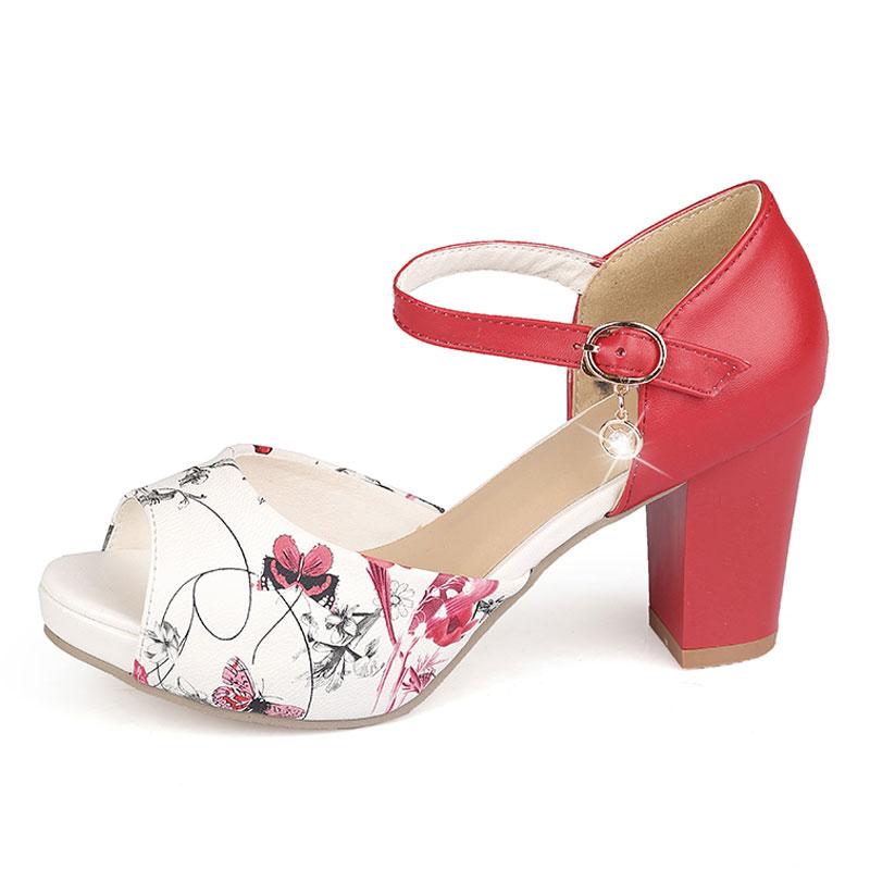 Červeno-bílé letní sandálky, 34-42 - Obrázek č. 2