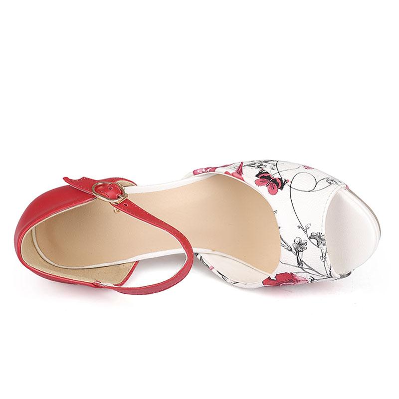 Červeno-bílé letní sandálky, 34-42 - Obrázek č. 4
