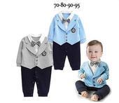 SKLADEM - světle modrý oblek, 6-12 měsíců, 68