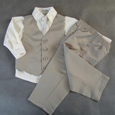 SKLADEM - k zapůjčení béžový oblek 3měsíce - 3 rok - Obrázek č. 1
