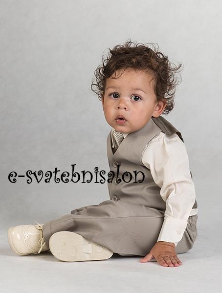 SKLADEM - k zapůjčení béžový oblek 3měsíce - 3 rok - Obrázek č. 4