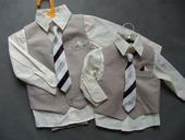 SKLADEM - k zapůjčení béžový oblek 6-12, 3-4 roky, 62