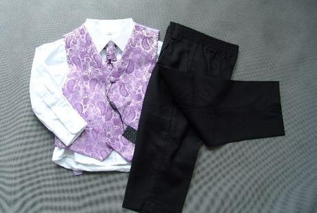 SKLADEM - k zapůjčení fialový oblek 12-18m, 9 a 12 - Obrázek č. 1