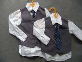 SKLADEM - k zapůjčení šedý oblek, 3-4 a 6-7 let, 116