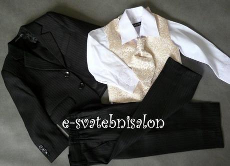 SKLADEM - k zapůjčení černý oblek 1-2 roky - Obrázek č. 2