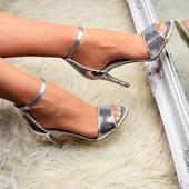 Stříbrné společenské sandálky, 36-41, 36