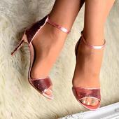 Růžové společenské sandálky, 36-41, 36
